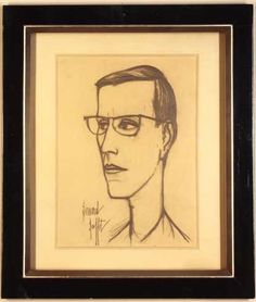 Bernard Buffet (French, 1928-1999). Portrait of Yves Saint Laurent. Pencil drawing on paper. Signed LL.