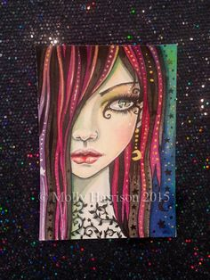 Starry Girl - Original Watercolor and Mixed Media ACEO Painting - Beautiful Woman - Contemporary Art, Modern - Molly Harrison Fantasy Art Fantasy Paintings, Fantasy Art, Art Paintings, Face Stencils, Artist Portfolio, Face Art, Art Faces, Whimsical Art, Portrait Art