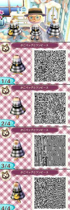 Animal Crossing New Leaf QR codes かごバッグとワンピース