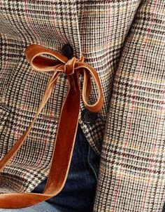 Attach a velvet ribbon to a tweed blazer