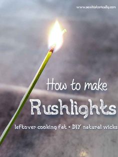 How To Make Rushlights Natural Cleaning Recipes, Natural Cleaning Products, Survival Tips, Survival Skills, Emergency Candles, Blog Names, Working People, Fat, Eco Friendly