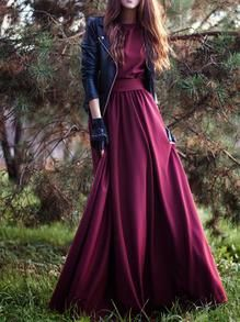 DESCRIPTION Fabric :Fabric has no stretch Season :Fall Pattern Type :Plain Sleeve Length :Three Quarter Length Sleeve Color :Burgundy Dresses Length :Maxi Style :Occasion Material :Satin Neckline :Rou                                                                                                                                                      More