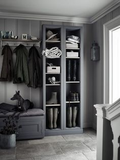 Grey boot room with open shelves, pegs for coats and a bench for perching on. Grey boot room with open shelves, pegs for coats and a bench for perching on.,~Interior~ Grey boot room with. Boot Room Utility, Foyer Decorating, Boot Room, Home, Hallway Storage, Interior, Room Design, Laundry Room Design, Scandinavian Interior Design