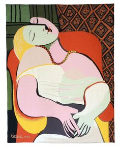 PABLO PICASSO - MODERN ART WALL TAPESTRY LE REVE (painted in 1932)
