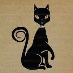 Pretty Black Cat  594KM  Digital Image Printable by GraphicDreamz