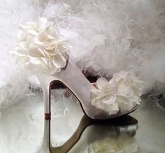 Handmade wedding shoes open toe Pearl White silk by Phoenixinfire