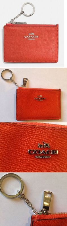 Other Womens ID and Doc Holders 169289: Coach Authentic Mini Skinny Embossed Leather Id Wallet Keychain Coral Nwt -> BUY IT NOW ONLY: $42.99 on eBay!