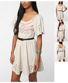 Urban Outfitters: Staring at Stars Crepe Cutout Embroidered Dress
