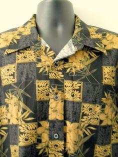 Natural Issue Mens Hawaiian Shirt Large Black Brown Leaves Squares 100% Cotton #NaturalIssue #Hawaiian