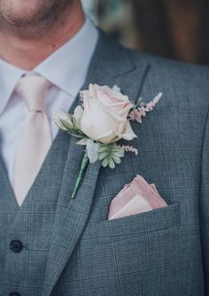 Wedding Bouquets Pink Rose Buttonhole // Pink Ruffled Chair Covers For Romantic Pastel Pink Wedding At Dorton House With Bride In La Sposa And Images From Julia Wedding Flower Guide, Rose Wedding, Wedding Flowers, Dream Wedding, Wedding Ideas, Farm Wedding, Spring Wedding, Diy Wedding, Wedding Ceremony
