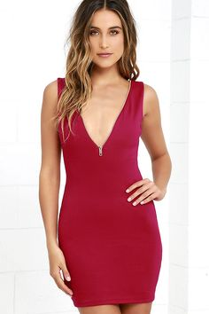A night of sipping on your favorite cocktails with your girls begins by zipping up in the Zip-A-Dee-Ay Wine Red Bodycon Dress! A functioning gold zipper frames the V neckline, offering a custom plunge, while medium-weight knit forms a darted, bodycon dress.