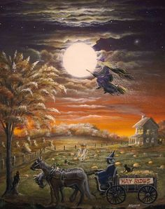 Hay Rides by Ron Byrum ~ Folk Art Halloween flying witch horse cat pumpkin patch
