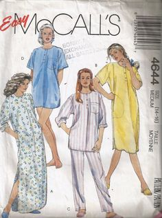 McCall's 4644 Women's Nightgown Pattern Nightshirt and by Poofwear