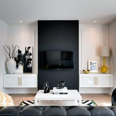 Living room tv wall decor black and white painted luxury television wall with decor living room Family Room Walls, Accent Walls In Living Room, Living Room With Fireplace, Small Living Rooms, New Living Room, Living Room Modern, My New Room, Living Room Interior, Living Room Designs