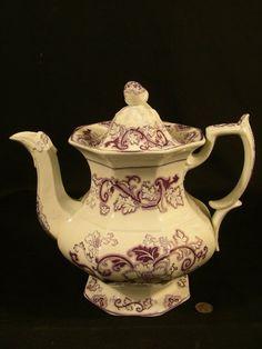 antique teapots | ... Image 1 964: ANTIQUE PURPLE TRANSFERWARE STAFFORDSHIRE TEAPOT