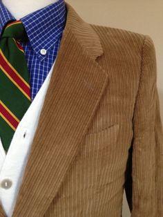 Mens Vintage Suit Jacket 39R Corenliani Vintage Corduroy Sports Coat Brown Preppy Men's Fashion