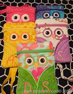 machine embroidered owl bags
