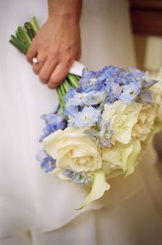 Blue Delphiniums wedding flower bouquet, bridal bouquet, wedding flowers, add pic source on comment and we will update it. www.myfloweraffair.com can create this beautiful wedding flower look.