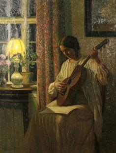 Un air du soir (1914).  Karl Harald Alfred Broge (Danish, 1870-1955).  Huile sur toile.