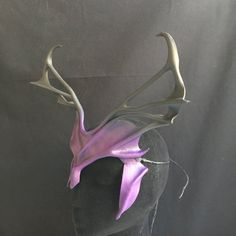 Leather Cosplay horns / Antlers are 16-inch wide: Great festival headpiece in purple & black! Wicked demon horns for a devil or villain costume.