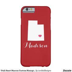 Utah Heart Maroon Custom Monogram Barely There iPhone 6 Case