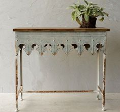 Vintage French Soul ~  Scalloped Edge Metal Table With Wood Top