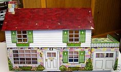 2 Story Marx Tin 6 Room Dollhouse w/Disney Room & Patio My Doll House, Doll Houses, Play Houses, Childhood Toys, Childhood Memories, Vintage Metal, Vintage Toys, Disney Rooms, Tin Toys