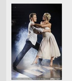 """Dancing With the Stars new leaders: Derek Hough & Nastia Liukin topped the leaderboard after their rhumba to Ed Sheeran's """"Thinking Out Loud"""" - week-2 - season-20 - spring 2015 - score - 9+8+8+9 = 34"""
