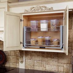 Kitchen Pantry Storage Cabinet, Kitchen Wall Cabinets, Upper Cabinets, Kitchen Organization, Inside Cabinets, Storage Cabinets, Pull Down Shelf, Rev A Shelf, Shelf System