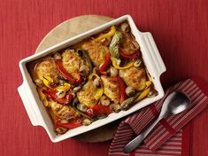 Marinated Oven Baked Chicken With Roasted Shallots And Peppers...