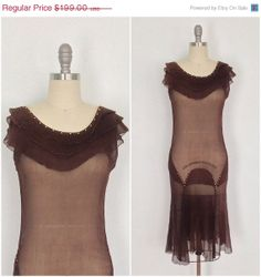 1920s - 1930s Silk Dress / Chocolate Brown Chiffon / Brass buttons / 20s 30s Art Deco Flapper Gatsby Age / Extra Small XS