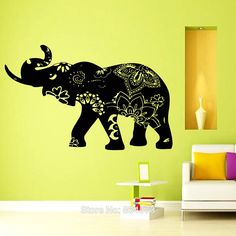 Elephant Decal Indian Yoga Wall Art Sticker Decal Home DIY Decoration Decor Wall Mural Removable Bedroom Decal Sticker 57X90cm()