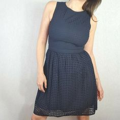 Brooks Brothers Red Fleece Size 10 12 Navy Blue Crochet Lace Guipure Midi Dress #BrooksBrothers #FitFlare #Casual