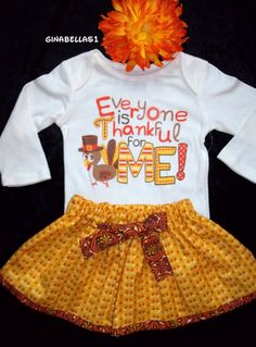 My First Thanksgiving day baby girl outfit onesie by GinaBellas1, $34.50