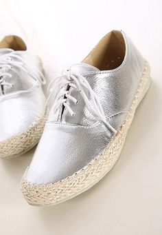 Contrast Metallic Silver Lace-Up Espadrilles. #MYTRENDTWOWARDROBE