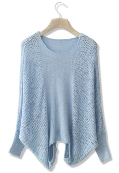 Pastel Blue Slouchy Sweater