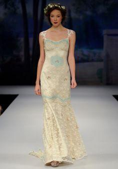 "OOH LA LA    Spring 2012  Antique blue ""Paris"" lace embroidery over platinu silk with sheer back"
