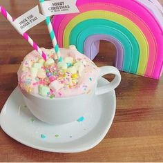 Unicorn Hot Chocolate (white hc dyed pink, coloured marshmallows and sprinkles)