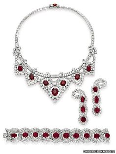 Producer Mike Todd, Dame Elizabeth Taylor's third husband, gave her this Cartier suite of ruby jewels in 1957, the year before his untimely death.