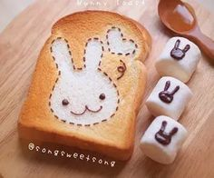 Kawaii Sweet World: Bunny toast and marshmallows decorated with chocolate bunnies. Cute Food, Good Food, Yummy Food, Japanese Sweets, Japanese Food, Cute Desserts, Dessert Recipes, Kawaii Dessert, Aesthetic Food