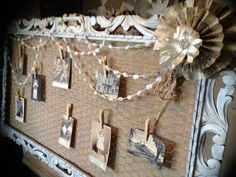 """Antique frame with Chicken Wire and Burlap, what a beautiful backdrop for """"the story of us"""""""