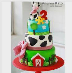 """Andrea Kato Cake Designer on Instagram: """"Vamos pra fazenda? Bolinho muito fofo!! #fazendinha #festafazendinha #fazendinhamenino #vaquinha #littlefarm #farmcake"""""""