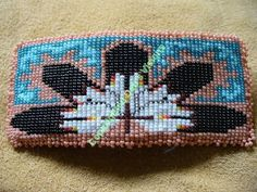 loom/square stitch beaded,Native American inspired Five Feather Barrette. $45.00, via Etsy.