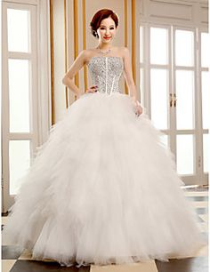 Wedding Dress Ball Gown Floor Length Tulle Strapless With Sequins and Beading