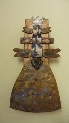 ⌼ Artistic Assemblages ⌼  Mixed Media & Collage Art - Laurie Mika-Clay totem