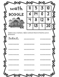 Math Boggle game using both addition and subtraction. I want to take this idea and make my own sheet. Encourage 3 addend addition. Maybe have categories to write found equations in. Put an area at the bottom to draw talley marks to show how many equations were found in all.