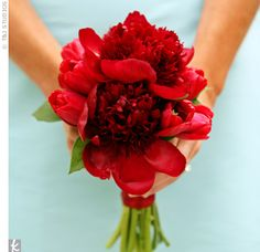 Vibrant red peonies and tulip bouquet // Moore Flowers Berry Hill // Photographer: T&J Studios // http://www.theknot.com/weddings/album/an-outdoor-wedding-in-wichita-ks-61193