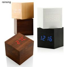 Chinese Style Sound Control Wooden Wood Square LED Alarm Clock Desktop Table Digital Thermometer Wood USB/AAA Clock-in Desk & Table Clocks from Home & Garden on Aliexpress.com | Alibaba Group