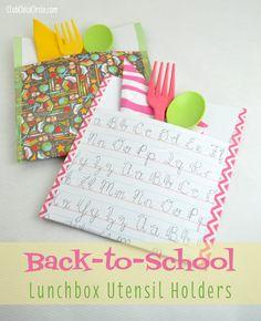 Back to school lunchbox utensil holders