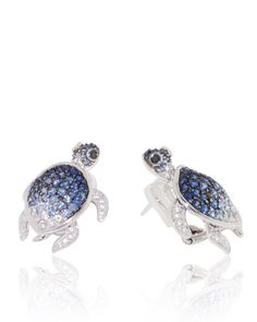 http://rubies.work/0593-emerald-rings/ Turtle Earrings set with degrading Blue Sapphires (3.32 ct) and Black Diamond (0.06 ct) Eyes in 18K white gold